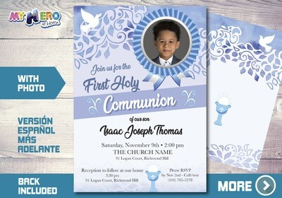 Boy First Communion Invitation. 1st Holy Communion Invitation. 380