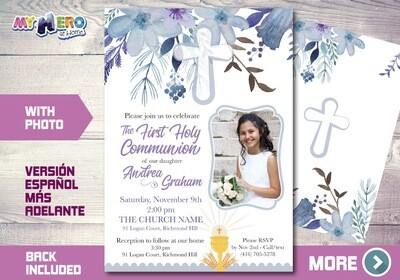Girl First Communion Invitation. 1st Holy Communion Invitation. 385