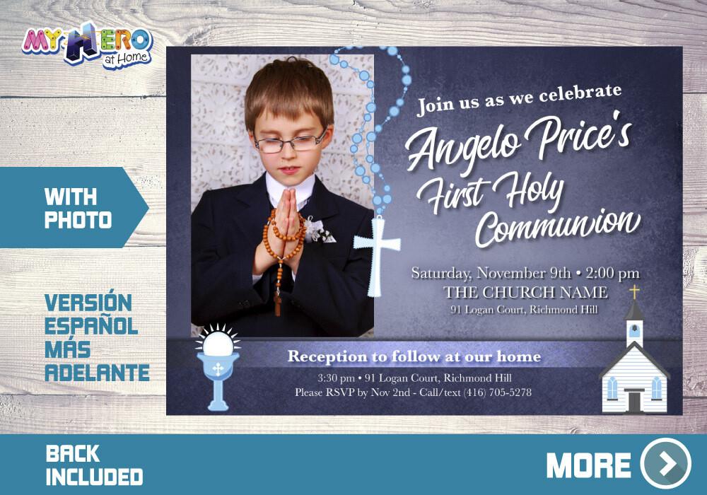 First Holy Communion Invitation, First Communion Invitation for Boys, Communion invitation, Invitación Primera Comunión para Niños. 382