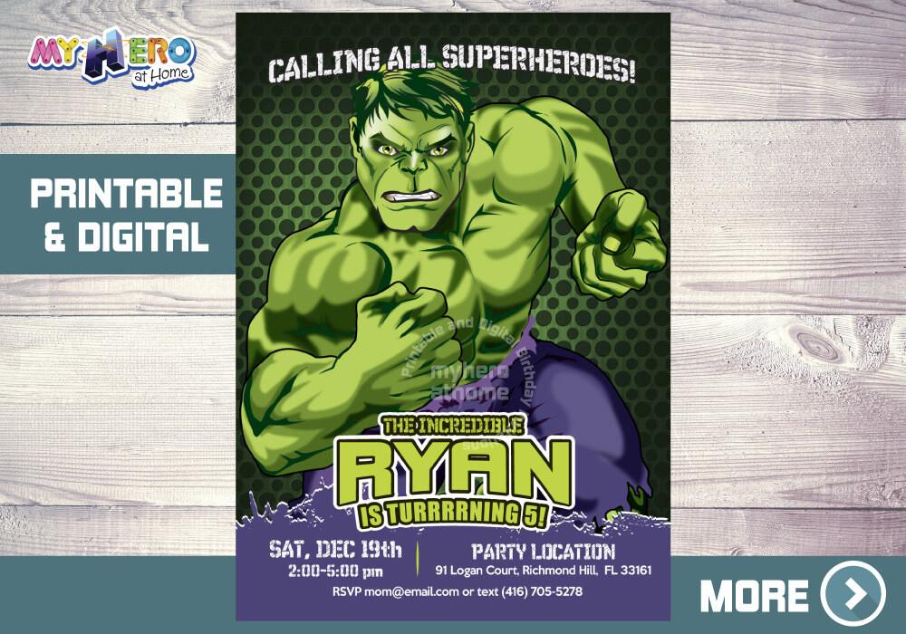 Hulk Birthday Invitation, Hulk Digital, Hulk Party Invitation, Hulk Virtual Birthday, Invitacion Hulk. 089NF