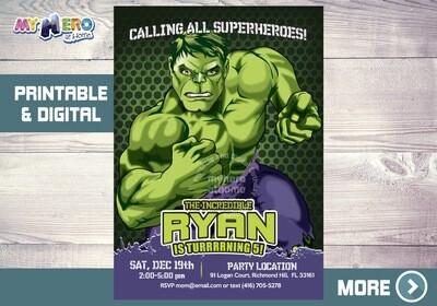 Hulk Birthday Invitation. Hulk Birthday ideas. 089NF