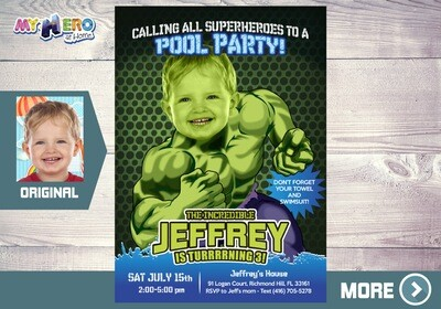 Hulk Pool Party Invitation, Hulk Pool Party Birthday, Hulk Pool Party Ideas, Hulk Birthday Ideas, Avengers Pool Party, 090