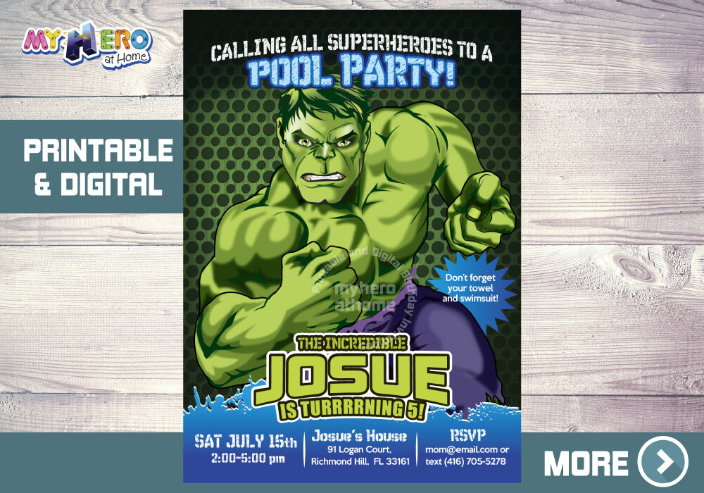 Hulk Pool Party Invitation, Hulk Birthday ideas, Hulk Pool Party Ideas, Hulk Pool Birthday Invitation, Invitacion Piscina Hulk, 090NF