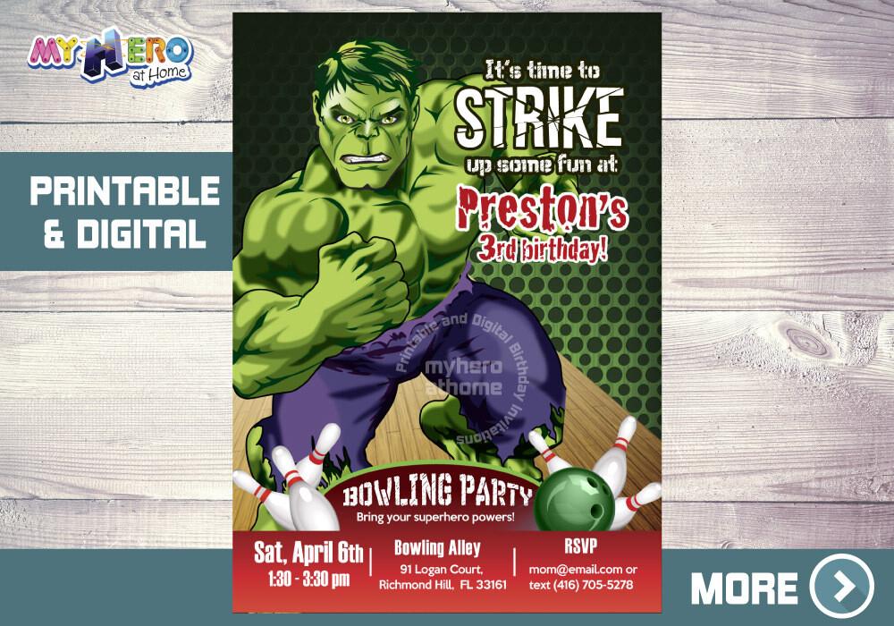 Hulk Bowling Party Invitation, Hulk Birthday, Bowling Party theme Hulk, Hulk Bowling Birthday, Invitacion Bolos Hulk. 144NF