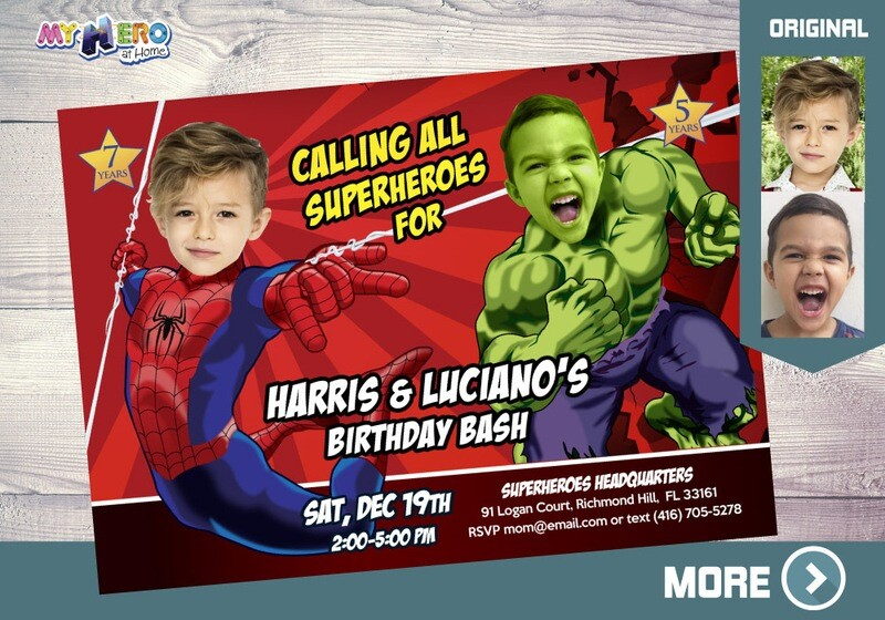 Spider-Man and Hulk Birthday Invitation, Hulk and Spider-Man Party, Joint Avengers Party, Superheroes Siblings Party, Avengers Siblings, 093