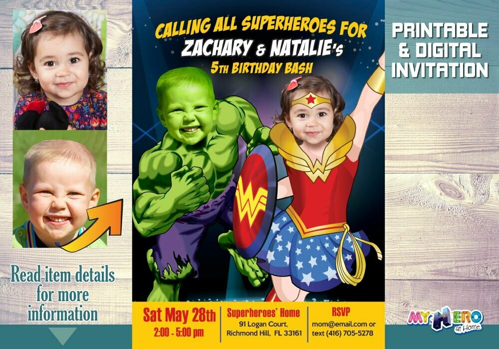 Wonder Woman and Hulk Invitation. Superheroes Siblings Invitation. Joint Superheroes Party. Siblings Superheroes Birthday Ideas. 191