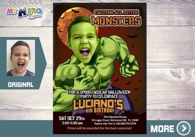 Halloween Hulk Invitation. 091