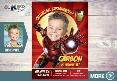 Iron Man Birthday Invitation, Iron man Party, Iron Man Digital Invitation, Iron man Virtual, Ironman Theme party. 098