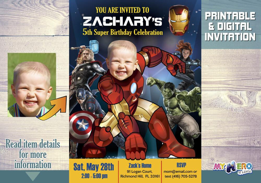 Iron man Avengers Birthday Invitation, Iron man Party, Iron Man Birthday Ideas, IronMan Digital, Ironman Invitation. 099