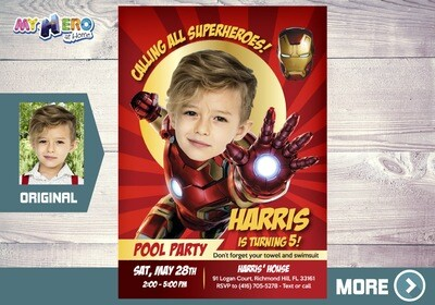 Iron Man Pool Party Invitation, Ironman Pool Party Birthday, Avengers Pool Party Invitation, Iron man Splash Party, Iron man Waterslide. 351