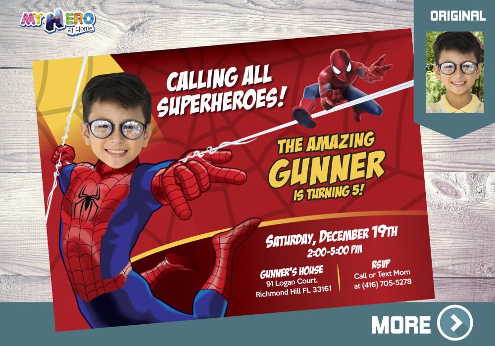Spider-man Birthday Invitation, Spider-man Party, Spider-man Digital, Spider-man theme Party, Fiesta Hombre Araña, Spider-Man Invite, 148