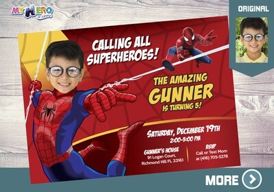 Spider-man Birthday Invitation, Spider-man Party, Spider-man Digital, Spider-man theme Party, Fiesta Hombre Araña, Spider-Man Invite, 148
