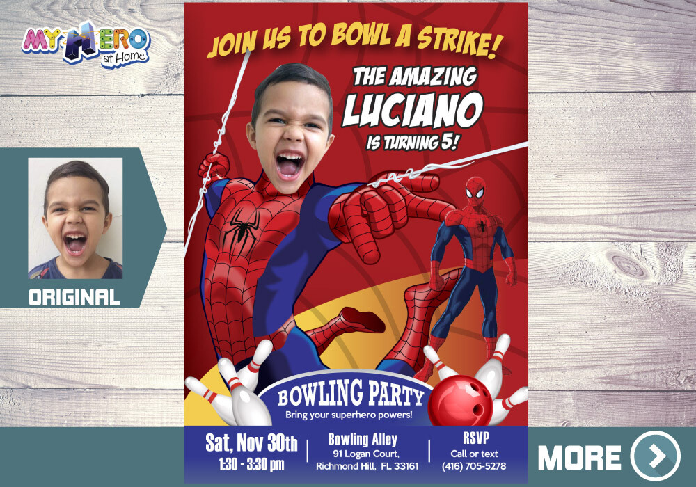 Spider-Man Bowling Party Invitation, Bowling Party themed Spider-Man, Avengers Bowling Party Ideas, Fiesta Bowling de Spider-Man, 146