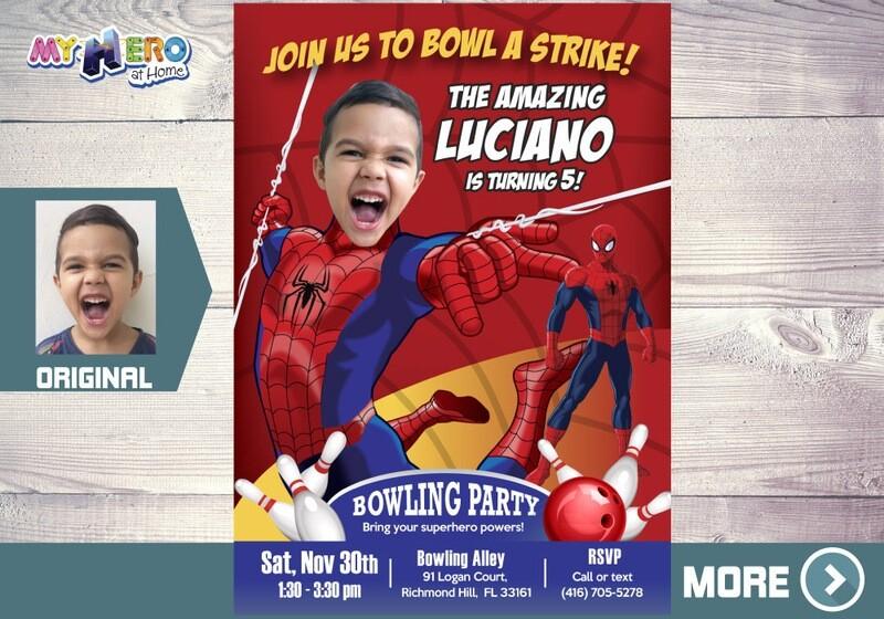 Spider-Man Bowling Party Invitation, Bowling Party themed Spider-Man, Avengers Bowling Party Ideas, Fiesta Bowling de Spider-Man, 146