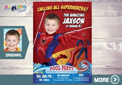 Spider-man Pool Party Invitation, Pool Party themed Spider-man, Spiderman waterslide party, Spider-man summer Party. 105