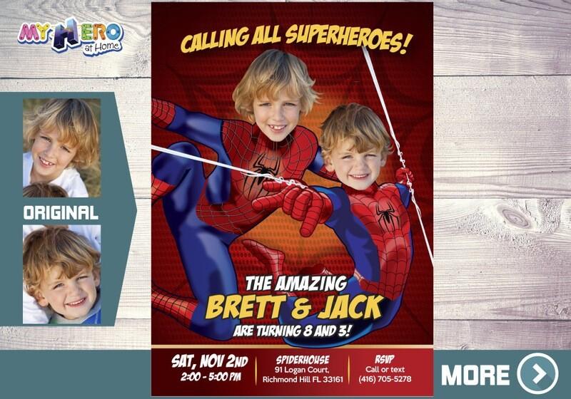 Spider-Man Siblings Invitation, Spiderman Brothers Invitation, Spiderman Siblings Birthday, Joint Spiderman Birthday, 2 Spiderman Party, 106