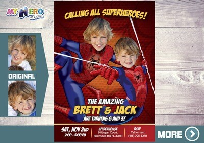 Spider-Man Siblings Invitation, Spiderman Brothers Invitation, Spiderman Siblings Birthday, Joint Spiderman Birthday, 2 Spiderman Party, 106