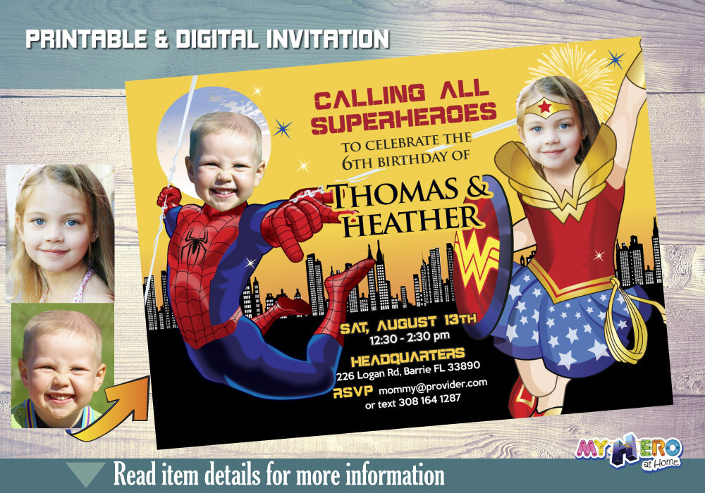 Spider-Man and Wonder Woman Birthday Invitation, Joint boy and girl superheroes birthday, Wonder Woman and Spider-Man Party. 181
