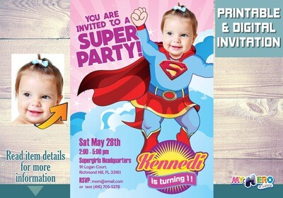 Supergirl 1st Birthday Invitations. Turn your baby into a beautiful Supergirl. Super girl First Bday Ideas. Supergirl 1st Party Ideas. 108