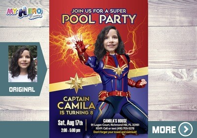 Captain Marvel Pool Party Invitation, Captain Marvel Pool Party Birthday, Avengers Pool Party Invitation, Captain Marvel Water Party, 353
