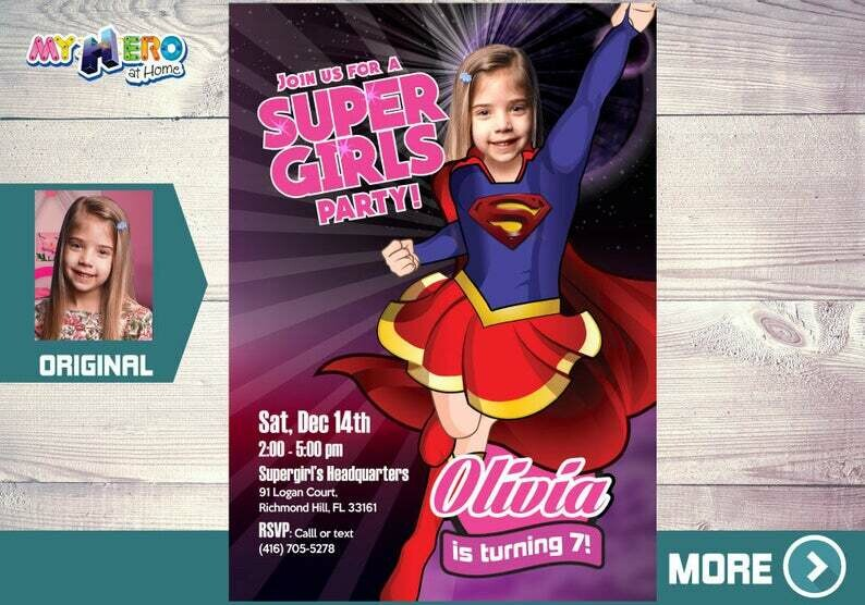 Super Girl Invitation. Supergirl Birthday. Supergirl Party. Super Party for Girls. Invitación de Super Niña. Supergirl themed party. 112