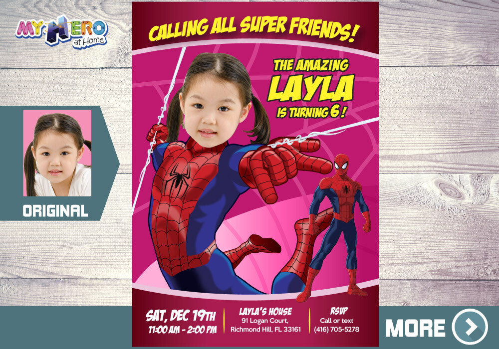 Spider-Girl Birthday Invitation, Spider-Woman Birthday, Spider-Girl theme Party, Spider-woman party, Spider-Girl Digital. 158
