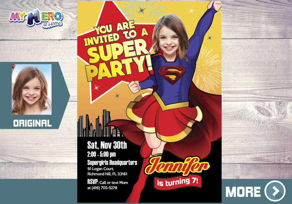 Super Girl Invitation. Supergirl Birthday. Supergirl Party. Super Party for Girls. Invitación de Super Niña. Supergirl themed party. 113