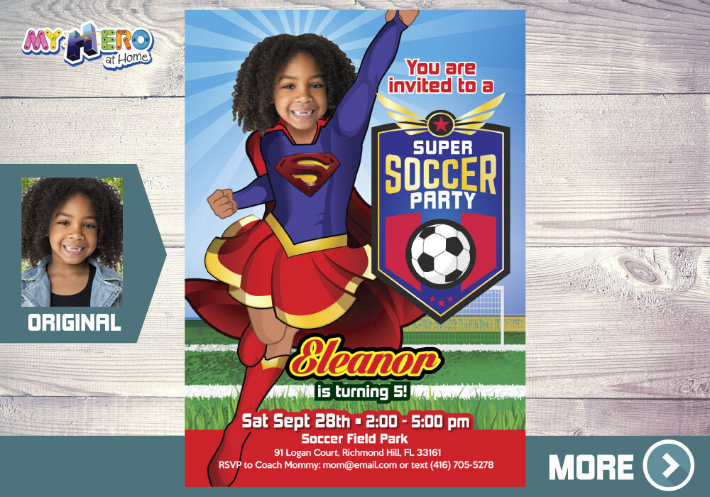 Soccer Party Super Girl Birthday Invitation. Supergirl themed Soccer Invitations. Soccer Party Birthday Ideas for Girls. 139