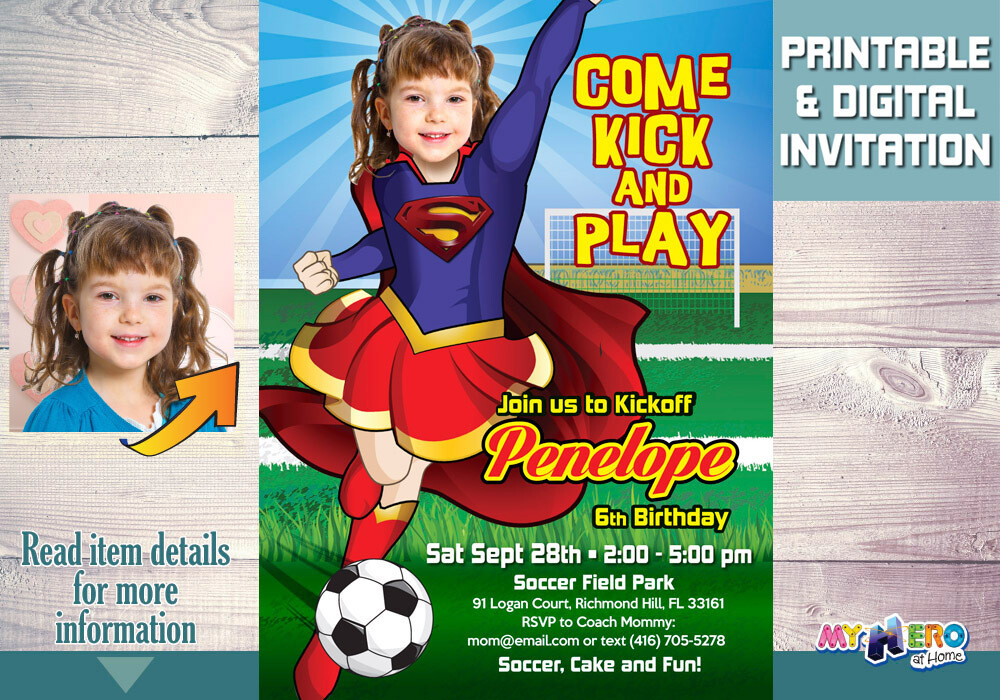 Soccer Party Supergirl Birthday Invitation, Soccer Party theme Supergirl, Super Hero girls Soccer Party. 140