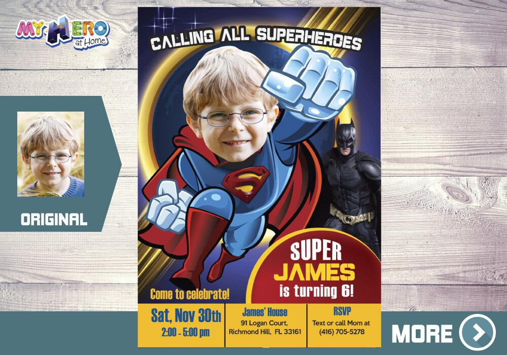 Superman Birthday Invitation, Superman Digital, Superman theme Party, Superman Virtual, Superman Party, Birthday theme Superman. 124