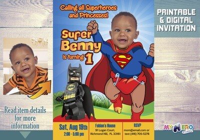 Baby Superman Birthday Invitation. 1st Super Birthday. Turn your baby into Superman. Superbaby Bday Ideas. Superman 1st Birthday Party. 122