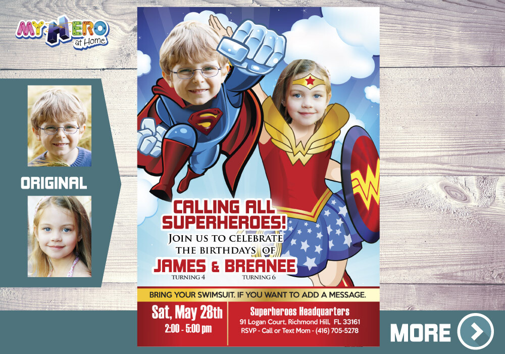 Superman and Wonder Woman Invitation. Joint Justice League party. Wonder Woman and Superman Party. Justice League Siblings Party. 134