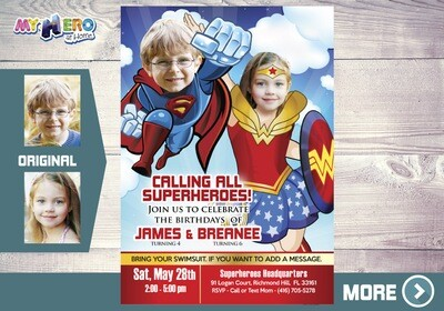 Superman and Wonder Woman Invitation, Wonder Woman and Superman Party, Justice League Siblings Party, Justice League Digital Invitation, 134