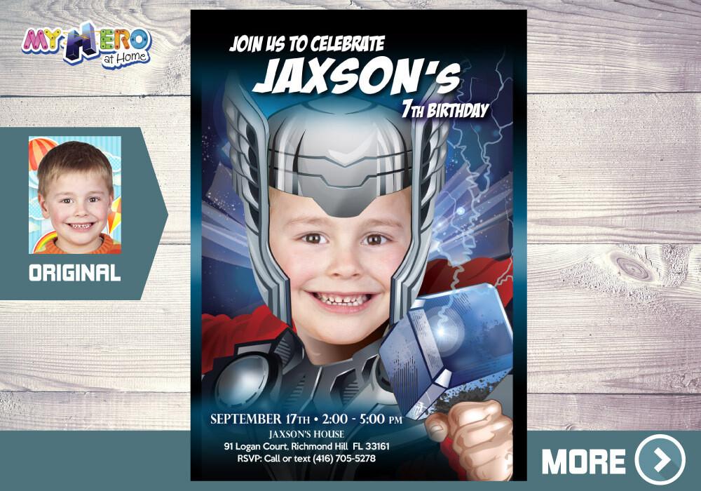 Thor Invitation. Turn your boy into The Mighty Thor. Thor Party Ideas. Avengers Endgame Party. Thor Birthday Ideas. Fiesta tema Thor. 126