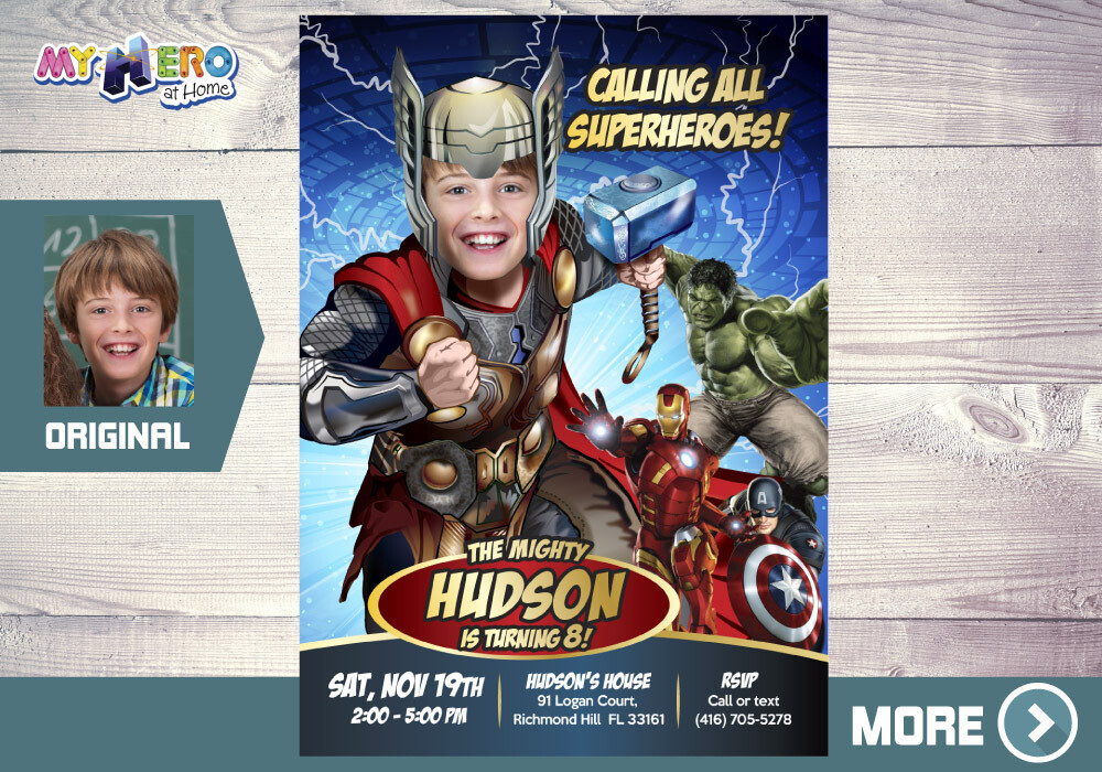 Thor Avengers Birthday Invitation, Thor theme party, Thor Digital, Thor Virtual Party, Thor Avengers Party, Thor Party Invitation. 155