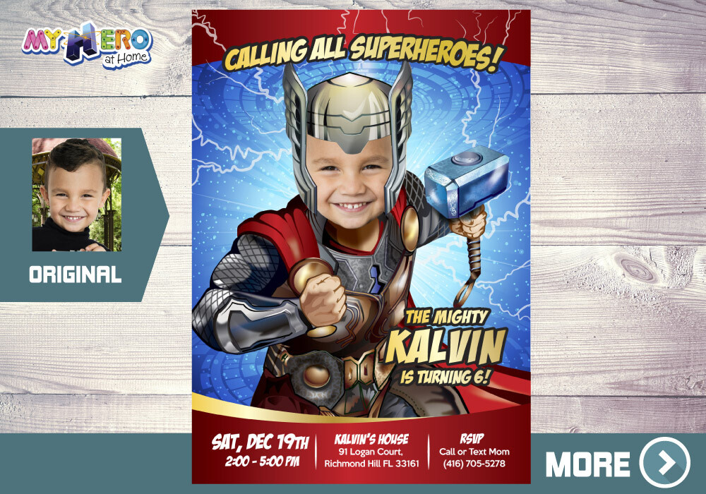 Thor Birthday Invitation, Thor theme party, Thor Digital Invitation, Thor Virtual Party, Thor Party, Thor Invitation, Party theme Thor. 154
