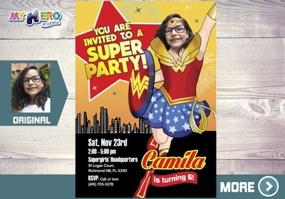 Wonder Woman Birthday Invitation, Wonder Woman Party, Wonder Woman Digital, Wonder Girl Invitation, Party theme Wonder Woman. 153