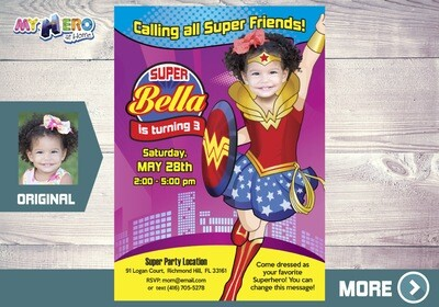 Wonder Woman Birthday Invitation, Wonder Woman Digital, Wonder Woman Party, Wonder Woman Virtual. 127