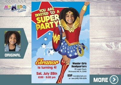 Wonder Woman Birthday Invitation, Wonder Woman Party, Wonder Woman Digital, Wonder Woman Invite, Fiesta tema Mujer Maravilla. 128