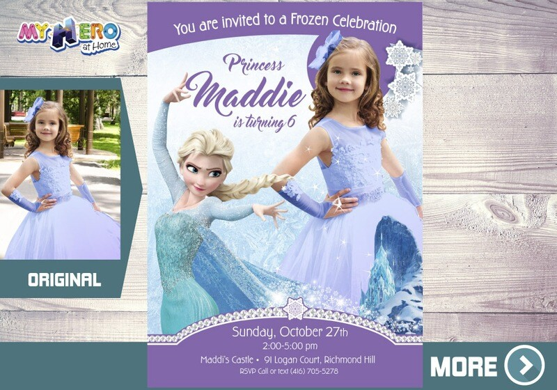 Frozen Party Invitation with your child in Elsa's costume. 270