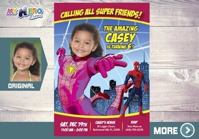 Pink Spider-Girl Birthday Invitation, Spider-Woman Birthday, Pink Spider-girl Party, Spider-woman Digital, Spider-Girl Digital, 391