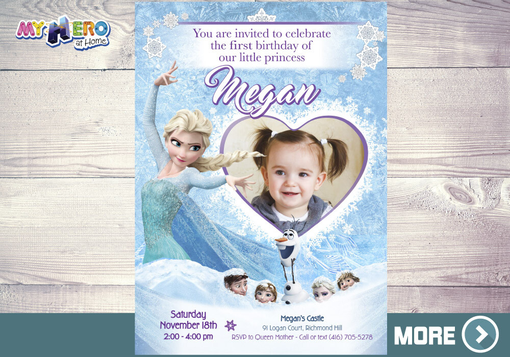 Frozen 1st Invitation. Frozen Birthday Invitation. 272