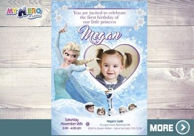 Frozen 1st Invitation. Frozen Birthday Invitation. 272