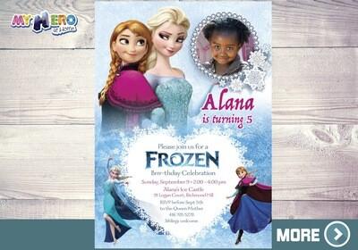 Elsa and Anna Frozen Party. Frozen Photo Invitation. 276