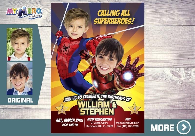 Iron Man and Spider-man Birthday Invitation, Joint Avengers birthday, Iron Man and Spider-man Party. 295