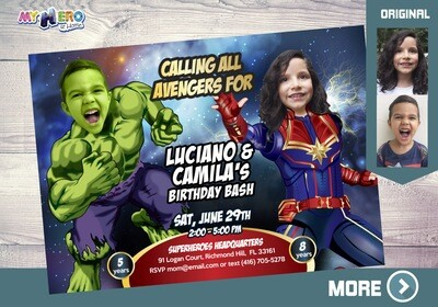 Hulk and Captain Marvel Birthday Invitation, Hulk and Captain Marvel Party, Joint Avengers Birthday Invitation, Avengers Siblings. 256