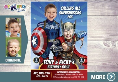 Captain America and Thor Birthday Invitation, Thor and Captain America Party, Avengers Digital Invitation, Avengers Siblings Party, 240