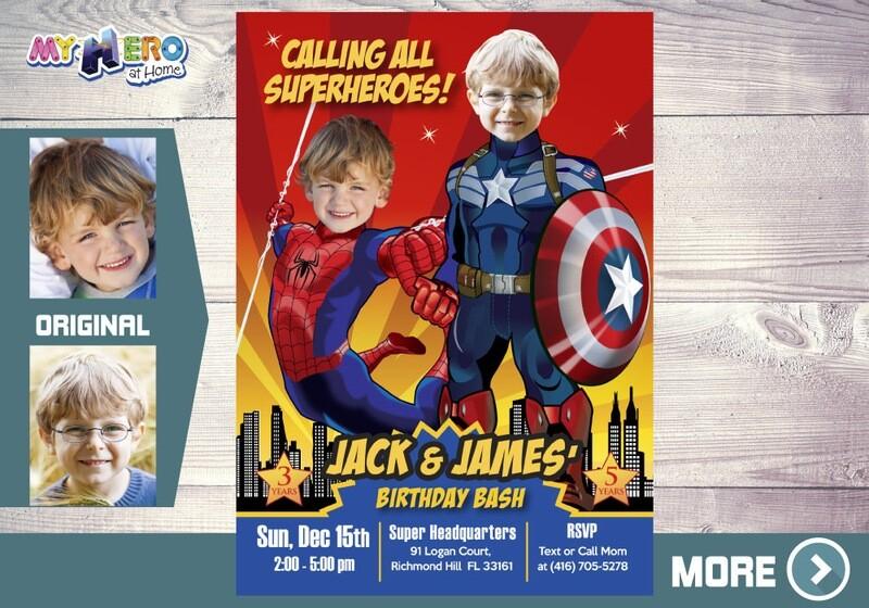 Spider-Man and Captain America Birthday Invitation, Superheroes Siblings Invitation, Avengers Siblings Party, Joint Avengers Birthday. 197