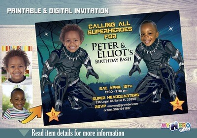 Black Panther Siblings Birthday Invitations, Wakanda Forever, Black Panther Siblings Party Ideas, Black Panther Birthday for 2 boys, 179