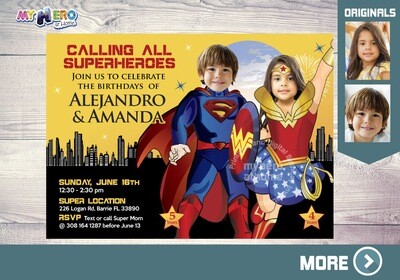 Superman & Wonder Woman Birthday Invitation. Superheroes Birthday Siblings Invitation. Joint superheroes Invitation. Joint Party Ideas. 147